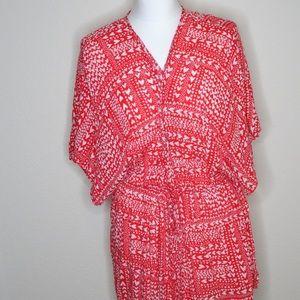 🍍Victoria Secret Robe Kimono Red w/Hearts & Dots